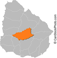 Map of Uruguay, Durazno highlighted