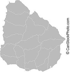 Landkarte, uruguay