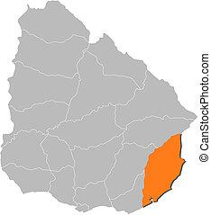 Map of Uruguay, Rocha highlighted