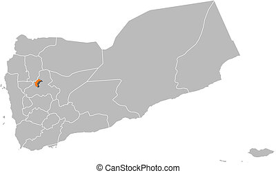 Map of Yemen, Sanaa highlighted - Political map of Yemen...