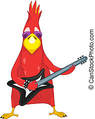 Funny Parrot Rock Star - Cartoon Character Funny Parrot...