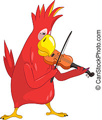 Funny Parrot Violinist - Cartoon Character Funny Parrot...