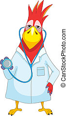 Funny Parrot. Doctor.
