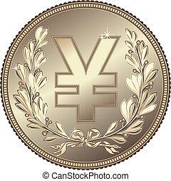 vector silver Money Yuan or Yen coin - silver Money Yuan or...