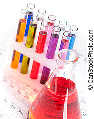 Group of test tubes and flask on the periodic table - Group...