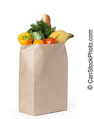 Fresh healthy food in a paper bag