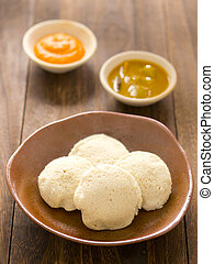 close up of a traditional indian idli breakfast