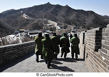 Beijing-Great Wall of China - Chinese soldiers are walking...