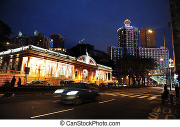 Trvael Photos China - Macau - Macau cityscape at night,...