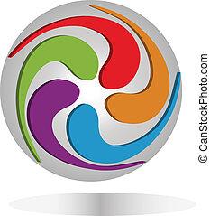 Abstract around earth logo vector