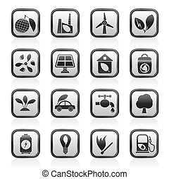 Green, Environment and ecology Icons - vector icon set