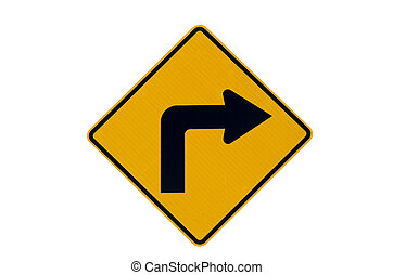 Right turn yellow traffic sign - Right turn warning yellow...