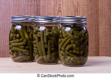três, Jarros, preservado, Pickled, feijões