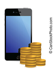 cellphone and gold coins