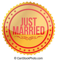 gold Just Married stamp print