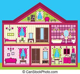 House for the girl in a cut - Vector illustration It is...