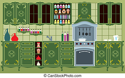 Kitchen furniture Interior - Vector illustration It is...