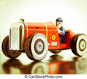 car - red retro race car