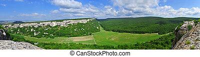 Panorama of mountains and blue sky.  Eski-Kermen. Crimea
