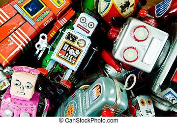 toys - box of old tin  toys