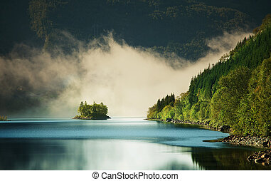 Fog on lake - fog on lake