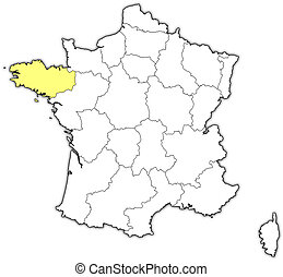 Map of France, Brittany highlighted