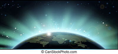 World globe eclipse background - World globe map eclipsing...