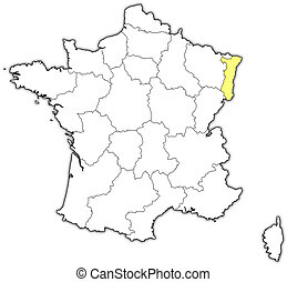 Map of France, Alsace highlighted