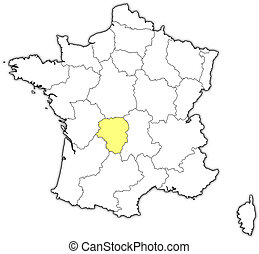 Map of France, Limousin highlighted