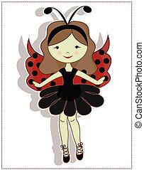 Pretty cute girl ladybug