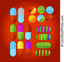 shiny colored medic pills symbols set