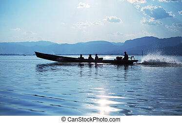 Inle lake - Boat on Inle Lake,Myanmar