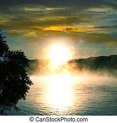 Lake on sunset - Sunrise scene on lake