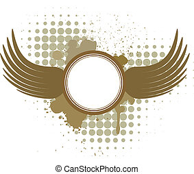 Abstract vector background with wings