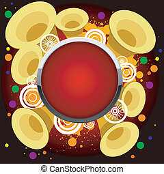 Abstract vector background with golden trumpets, and the red button
