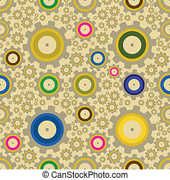 Set of gears, seamless pattern illustration