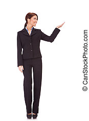 business woman presenting - full body picture of a business...