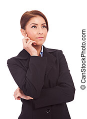 beautiful business woman looking contemplative - Portrait of...