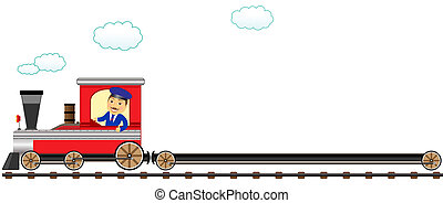 happy conductor with empty wagon - happy cartoon conductor...