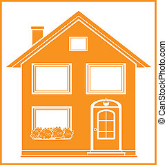 real estate symbol with isolated house silhouette in frame