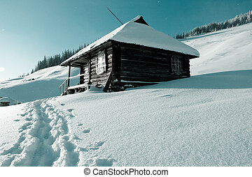 Mountain hut - Mountains hut in winter season