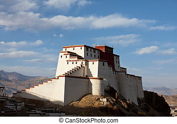 Monastery in Tibet - Ancient tibetan fortress in Gyantse,...