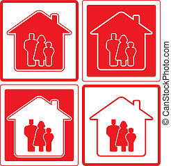 icon with family and home silhouett