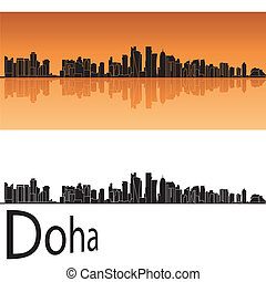 Doha skyline in orange background in editable vector file