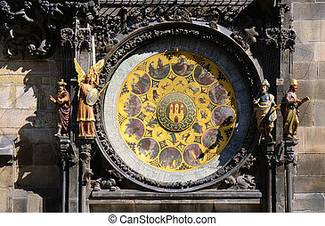 Prague famous sights - Astronomical clock detail - Detail of...