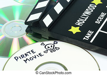 Video piracy - Pirate Movie written on a dvd next to a...