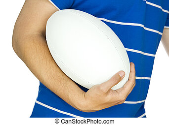 rugby player with ball on white
