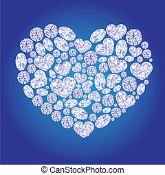 Diamond card hearts vector illustration Diamond on blue...