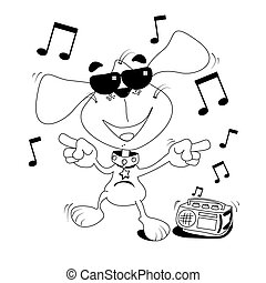 Dancing dog colouring book - Cartoon dog dancing outline for...