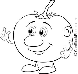 Character tomato, outline